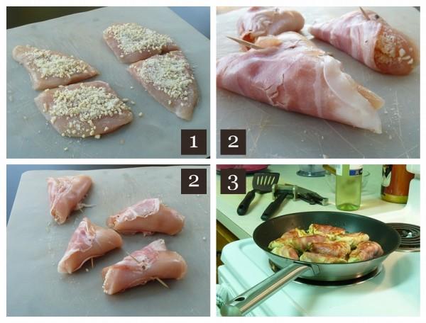 Chicken and almonds involtini preparations