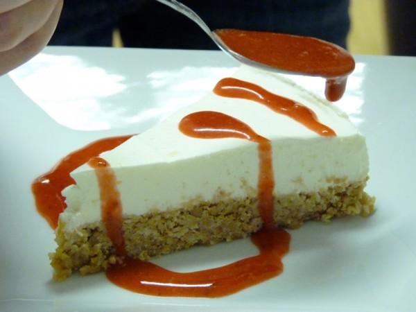 Strawberry Coulis and Yogurt no-bake Cake