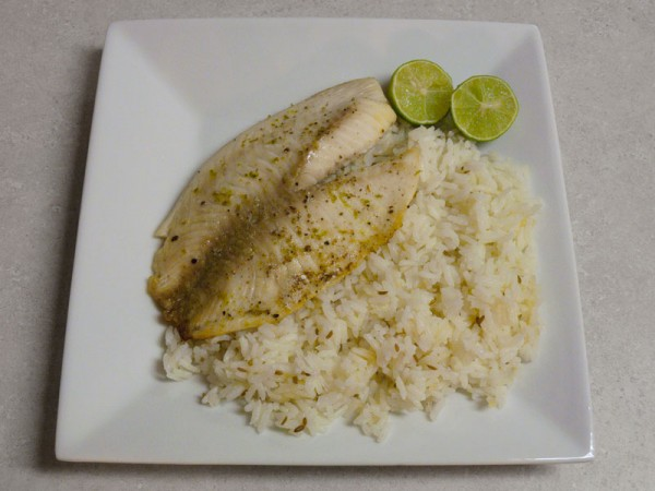 Tilapia fillets with lime and cumin lime rice