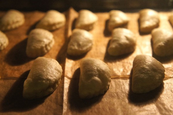Porcini mushroom pastries in the oven