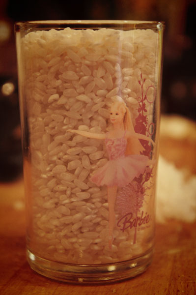 Barbie Glass Of Rice for risotto for 2 people