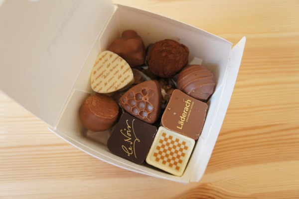 A box of Laderach chocolate