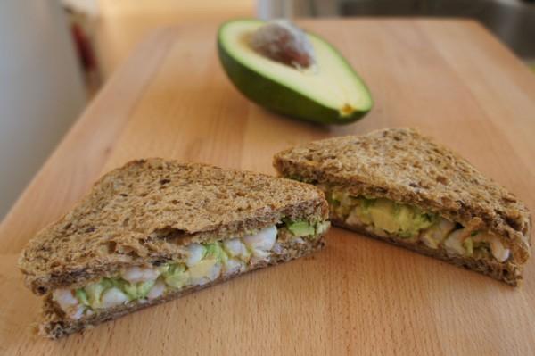 shrimp and avocado tramezzini sandwich
