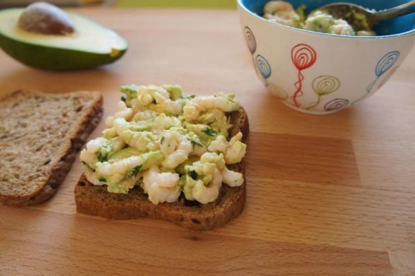 Shrimp and avocado tramezzini sandwich preparation