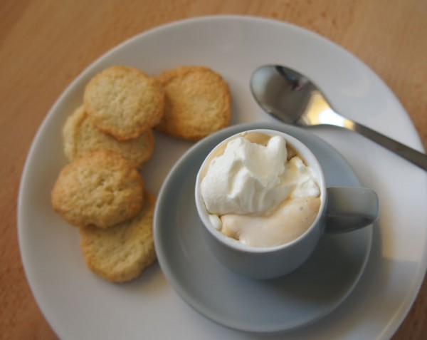 Warm Pasta Frolla Cookies Espresso And Whipped Cream