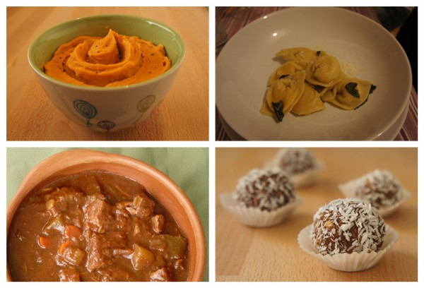 Special Menu: beans dip, cappellacci with squash, guinness beef stew, nutella bon bons
