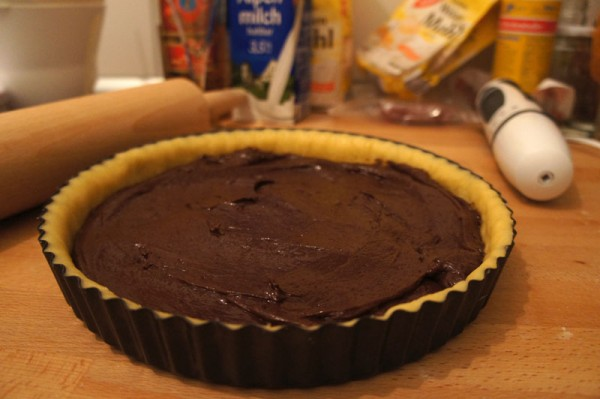 First Chocolate Layer On The Crostata Pie