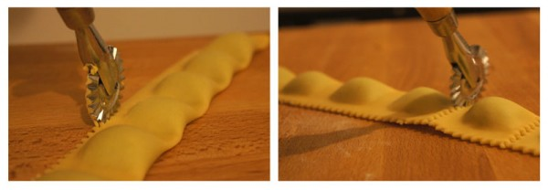 Cutting Ravioli ricotta and spinach