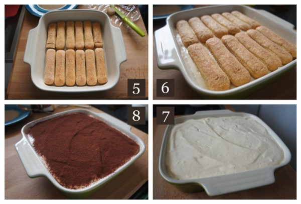Forming the Tiramisu - cookies and cream