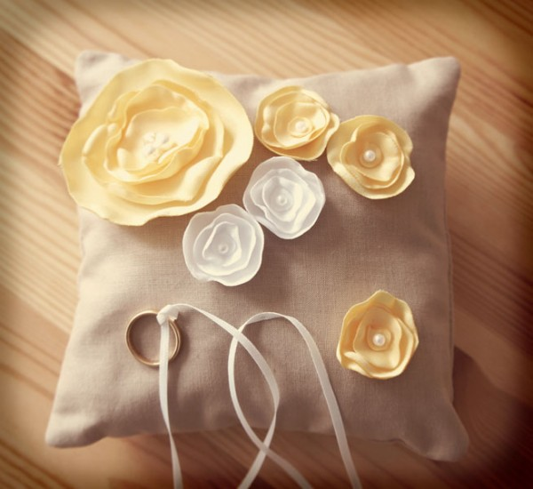 Handmade Ring Pillow with fabric flowers
