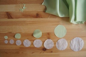 Tissue paper circles green - fabric flowers