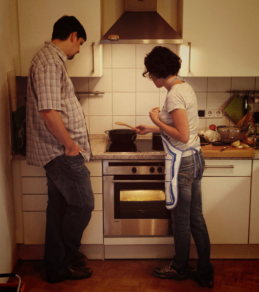Prepariamo il risotto mentre le patate arrosto sono nel forno