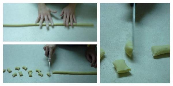Formando gli gnocchi di patate