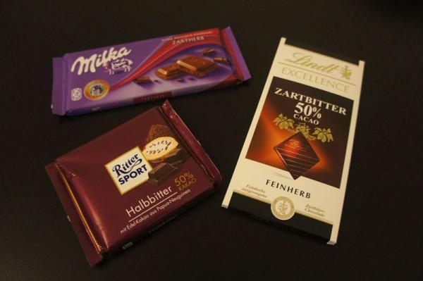 Barrete di cioccolato Milka, Ritter Sport e Lindt