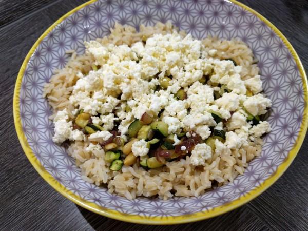 riso zucchine spinacini e feta